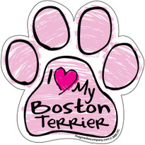 I Love My Boston Terrier PINK Scribble Paw Magnet