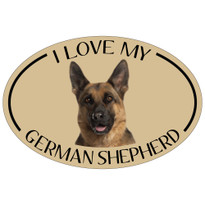 I Love My German Shepherd Colorful Oval Magnet