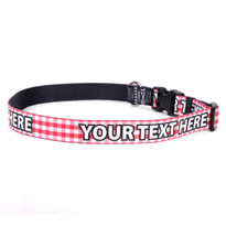 Personalized Gingham Red Dog Collar
