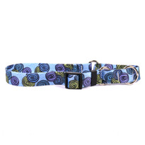 Spirals Blue Martingale Dog Collar