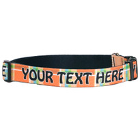 Personalized Madras Plaid Orange Dog Collar
