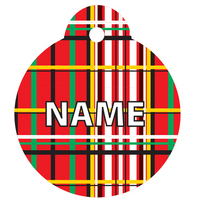 Tartan Plaid Red HD Pet ID Tag