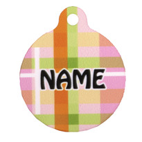 Madras Plaid Pink HD Pet ID Tag
