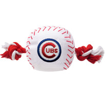 Chicago Cubs Nylon Rope Baseball Squeaker  Dog Toy