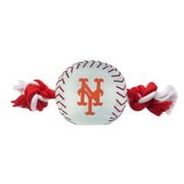 New York Mets Nylon Rope Baseball Squeaker  Dog Toy