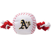 Oakland Athletics Nylon Rope Baseball Squeaker  Dog Toy