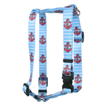 Anchors on Blue Stripes Roman Style H Dog Harness