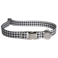 Southern Dawg Gingham Black Premium Dog Collar