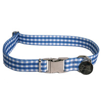 Southern Dawg Gingham Navy Blue Premium Dog Collar