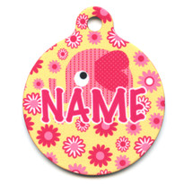 Pink Elephants HD Pet ID Tag