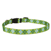 Argyle Green Dog Collar with Tag-A-Long