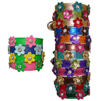 Leather Flower Designer Dog COLLAR