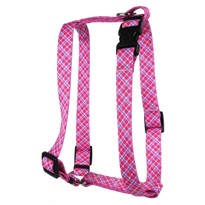 Pink and Purple Diagonal Plaid Roman Style H Dog Harness