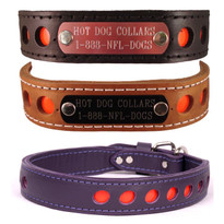 Reflective Leather Personalized Name Plate Dog Collar