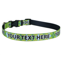 Personalized Lime Argyle Plaid Dog Collar
