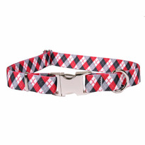 Black Argyle Premium Metal Buckle Dog Collar