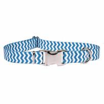Chevron Blueberry Premium Metal Buckle Dog Collar