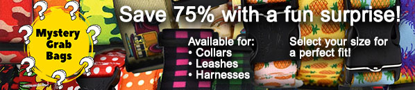 Available for collars, tags, and harnesses. Select your size for a perfect fit!